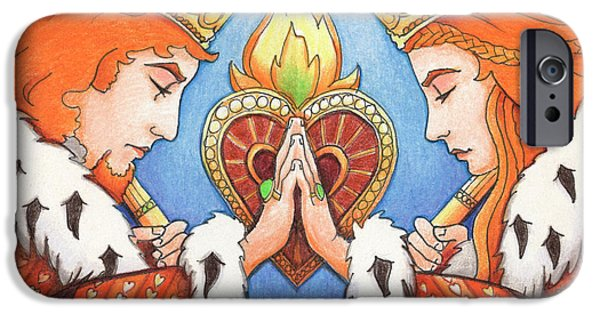 Colored Pencils iPhone Cases - King and Queen of Hearts iPhone Case by Amy S Turner