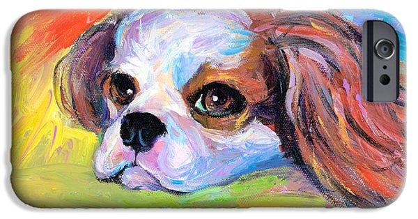 Dog Breed iPhone Cases - King Charles Cavalier Spaniel Dog painting iPhone Case by Svetlana Novikova