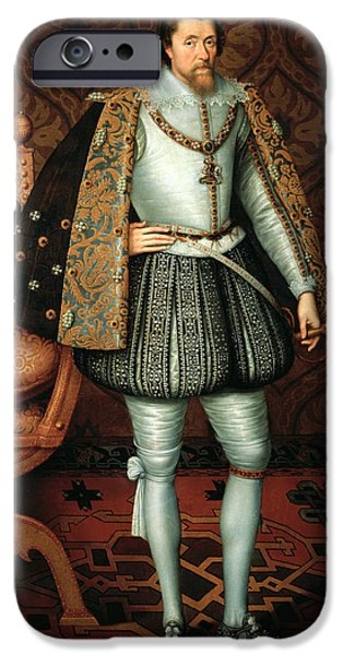 Royal Family Arts iPhone Cases - King James I iPhone Case by Paul van Somer