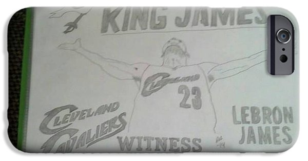 Lebron Drawings iPhone Cases - King James iPhone Case by Stephanie Deskins