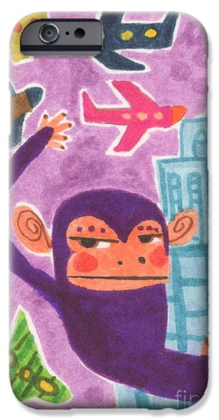 City Scape Drawings iPhone Cases - King Kong iPhone Case by Kate Cosgrove