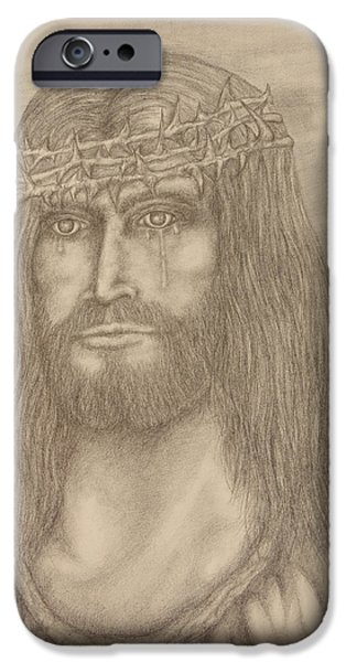 Son Of God Drawings iPhone Cases - King of Kings iPhone Case by Jaren Johnson
