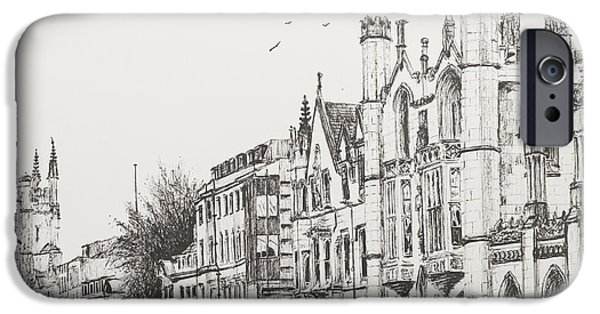 Architecture Drawings iPhone Cases - Kings College Cambridge iPhone Case by Vincent Alexander Booth