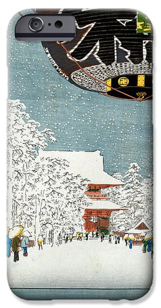 Snow iPhone Cases - Kinryuzan Temple at Asakusa iPhone Case by Hiroshige