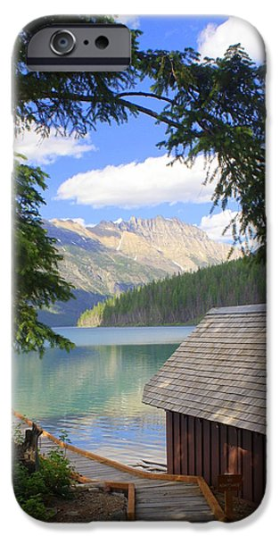 Kintla Lake Ranger Station Glacier National Park iPhone Case by Marty Koch