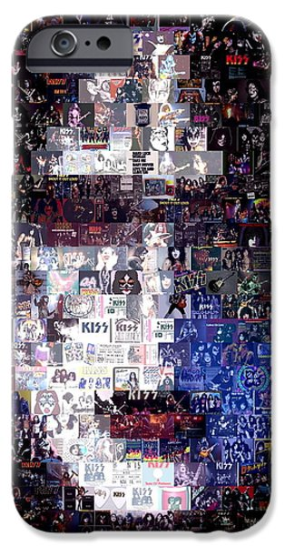 Recently Sold -  - Mosaic iPhone Cases - KISS Ace Frehley Mosaic iPhone Case by Paul Van Scott