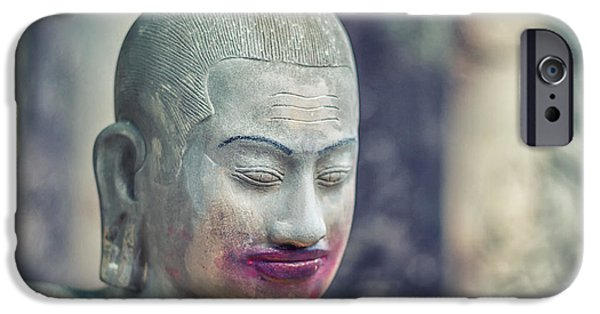 Buddhism iPhone Cases - Kissing Buddha Angkor Wat  iPhone Case by Stylianos Kleanthous