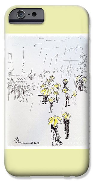Rainy Day Drawings iPhone Cases - Kissing in the Rain iPhone Case by Barbara Chase