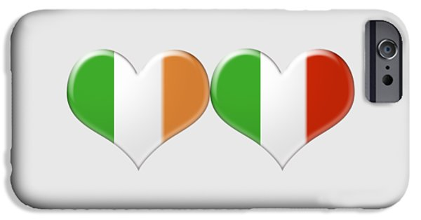 Flag Jewelry iPhone Cases - Kissing Irish and Italian Heart Flags iPhone Case by Ckeen Art