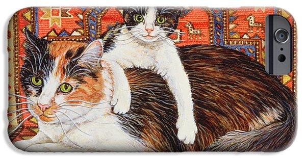 Persian Carpet iPhone Cases - Kit Cat Carpet iPhone Case by Ditz