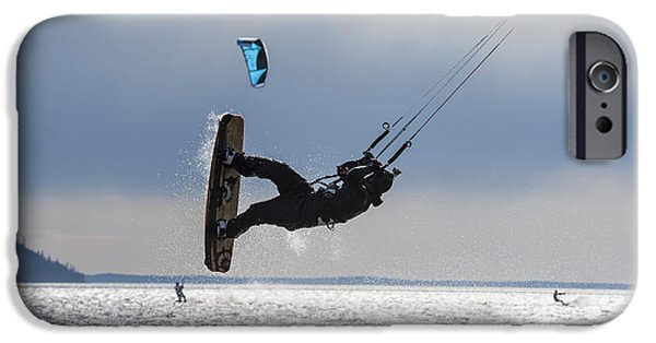 Kite Boarding iPhone Cases - Kite Boarders On Turnagain Arm iPhone Case by Daryl Pederson