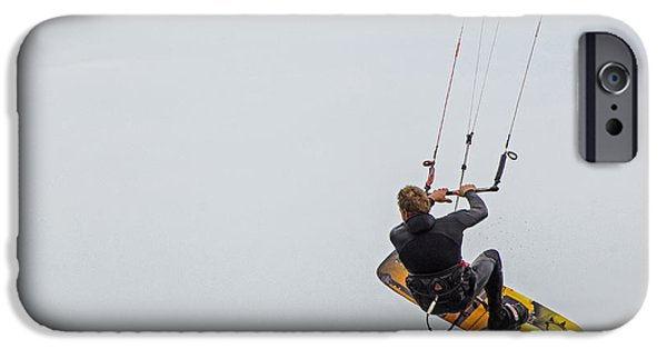 Kite Boarding iPhone Cases - Kite Boarding 1 iPhone Case by Susan  McMenamin