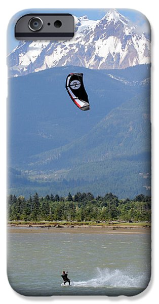 Kite Surfing iPhone Cases - Kite surfing the Spit in Squamish B.C Canada iPhone Case by Pierre Leclerc Photography