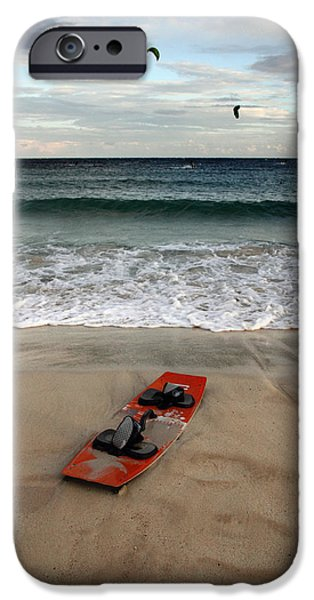 Young Photographs iPhone Cases - Kitesurfing iPhone Case by Stylianos Kleanthous