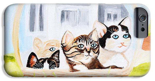 Basket iPhone Cases - Kittens in basket iPhone Case by Art by Danielle