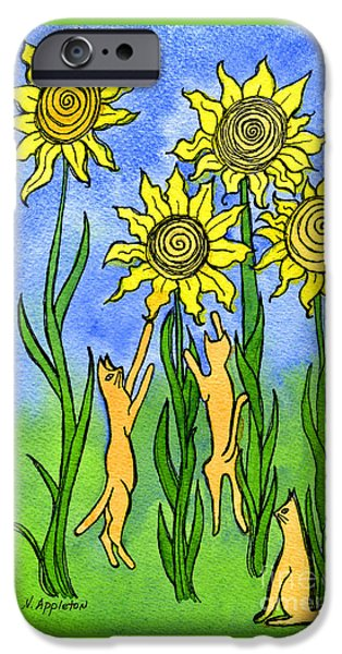 Appleton Art iPhone Cases - Kitties Climbing Flowers iPhone Case by Norma Appleton