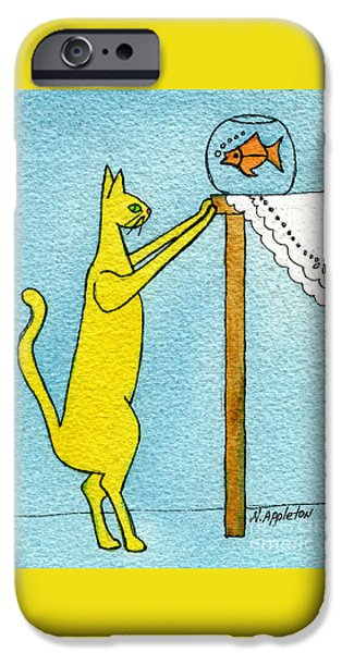 Appleton Art iPhone Cases - Kitty and the Fish iPhone Case by Norma Appleton