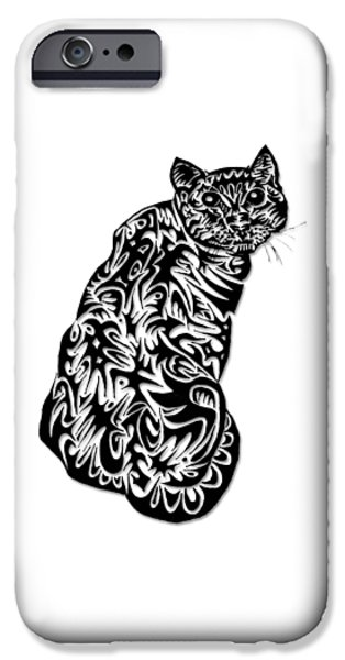 Abstract Digital Drawings iPhone Cases - Kitty  iPhone Case by AR Teeter