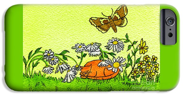 Appleton Art iPhone Cases - Kitty in the Garden iPhone Case by Norma Appleton