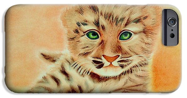 Beautiful Cat Drawings iPhone Cases - Kitty Kitty Kitty iPhone Case by Monica  Vega