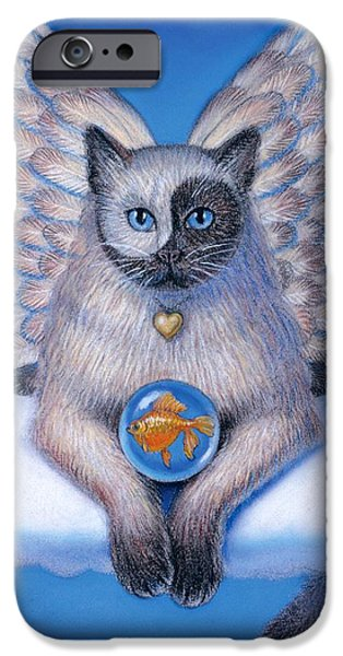 Animal Pastels iPhone Cases - Kitty Yin Yang- Cat Angel iPhone Case by Sue Halstenberg