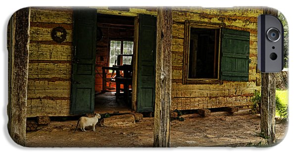 Cabin Window iPhone Cases - Kittys Kottage iPhone Case by Judy Vincent
