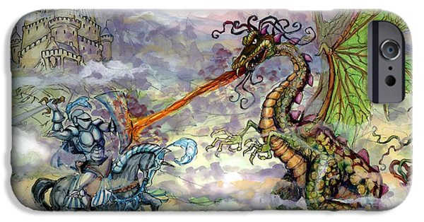 Dragon iPhone Cases - Knights n Dragons iPhone Case by Kevin Middleton
