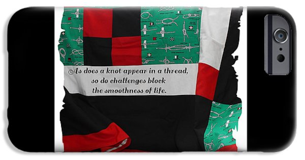 Sheets Tapestries - Textiles iPhone Cases - Knots on a Quilt with Quote iPhone Case by Barbara Griffin