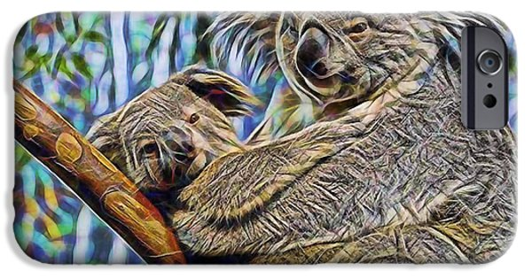 Koala iPhone Cases - Koala Bear Mom and Child iPhone Case by Marvin Blaine