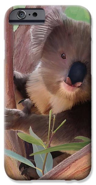 Koala  Painting iPhone Case by Michael Greenaway