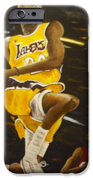 Kobe Paintings iPhone Cases - Kobe iPhone Case by Anthony Hurt