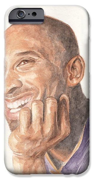 Bryant Drawings iPhone Cases - Kobe Bryant iPhone Case by Ellen Bernales