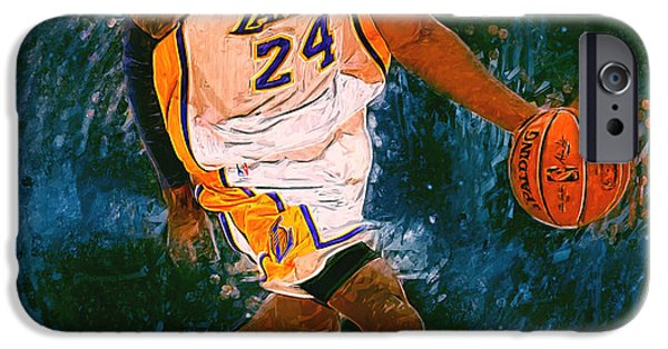 Bob Ross Digital iPhone Cases - Kobe Bryant iPhone Case by Semih Yurdabak