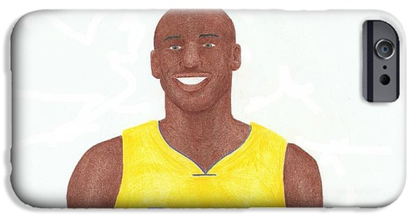 Bryant Drawings iPhone Cases - Kobe Bryant iPhone Case by Toni Jaso