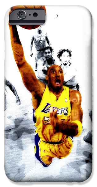 Magic Johnson iPhone Cases - Kobe Bryant took Flight iPhone Case by Brian Reaves