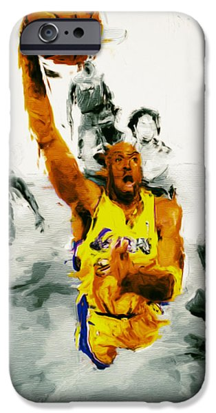 Kobe Paintings iPhone Cases - Kobe Took Flight 3a iPhone Case by Brian Reaves
