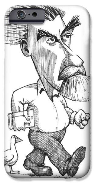 Caricature Portraits iPhone Cases - Konrad Lorenz, Caricature iPhone Case by Gary Brown