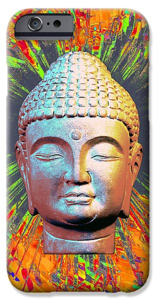 Buddhist Sculptures iPhone Cases - Korean 2C Colorful b iPhone Case by Terrell Kaucher