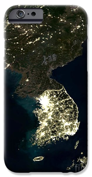Nation iPhone Cases - Korean Peninsula iPhone Case by Planet Observer and SPL and Photo Researchers