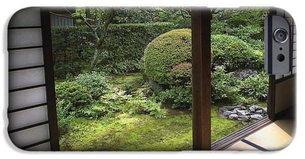 Japan House iPhone Cases - Koto-in Zen Temple Side Garden - Kyoto Japan iPhone Case by Daniel Hagerman