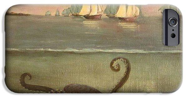 Sailboat Ocean iPhone Cases - Kraken After Homer iPhone Case by Christina Glaser