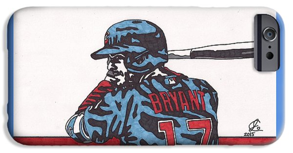 Bryant Drawings iPhone Cases - Kris Bryant 1 iPhone Case by Jeremiah Colley