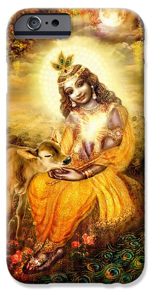 Hindu Goddess iPhone Cases - Krishna with the Calf iPhone Case by Ananda Vdovic