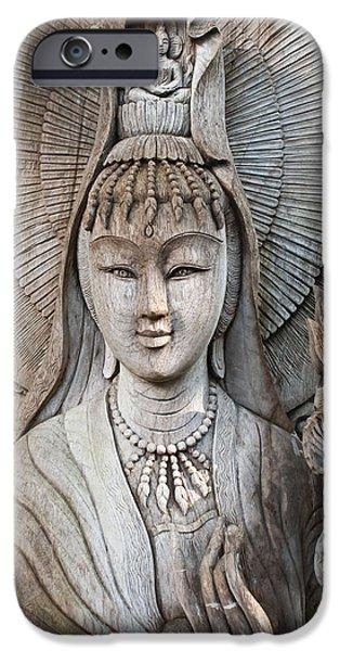 Buddhist Pyrography iPhone Cases - Kuan Yin  iPhone Case by Apatsara Sirirodchanapanya