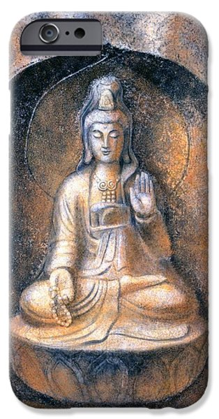 Yin Paintings iPhone Cases - Kuan Yin Meditating iPhone Case by Sue Halstenberg