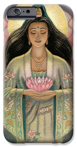 Buddhism Pastels iPhone Cases - Kuan Yin Pink Lotus Heart iPhone Case by Sue Halstenberg