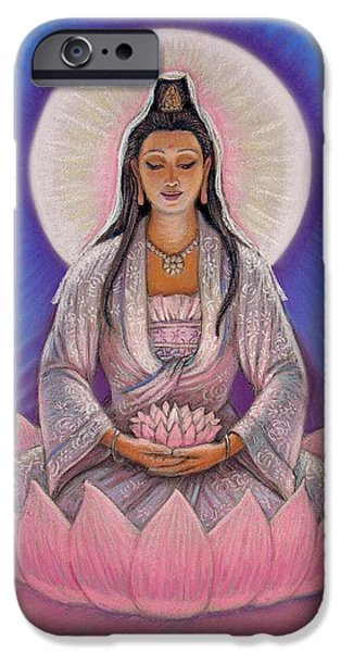 Feminine Pastels iPhone Cases - Kuan Yin iPhone Case by Sue Halstenberg