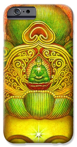 Yin Paintings iPhone Cases - Kuan Yins Buddha Crown iPhone Case by Sue Halstenberg