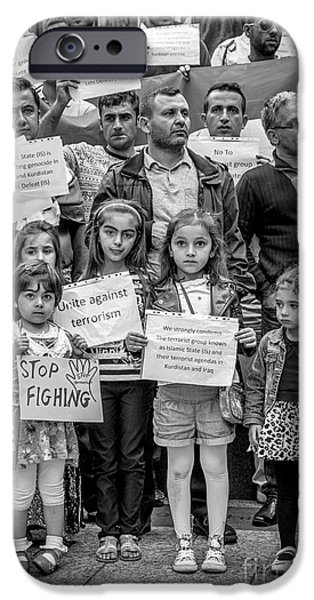 Iraq Prints iPhone Cases - Kurdish Community Protest iPhone Case by Ian  Francis