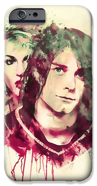 Red Rock Mixed Media iPhone Cases - Kurt and Courtney Watercolor iPhone Case by Marian Voicu